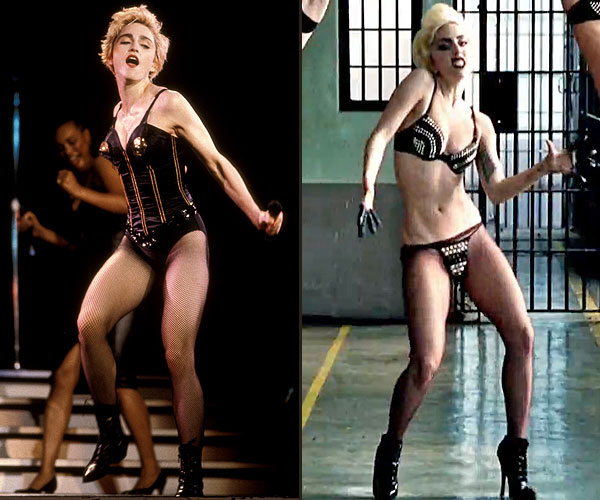 "Madonna performing in 1987. Lady Gaga in her video for ""Telephone,"" 2010."